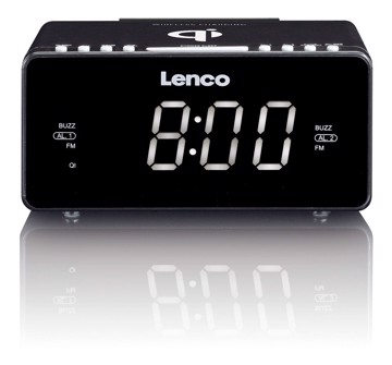 Picture of Lenco CR-550BK - Stereo FM Clock Radio with USB and Qi Wireless Smartphone charging - Black