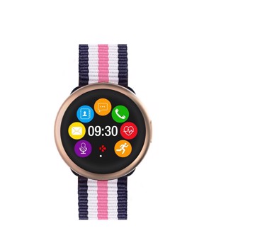 Picture of MYKRONOZ ZEROUND2HR PREMIUM BRUSHED PINK GOLD/PINK-WHITE-BLUE (NATO BAND) Smartwatch