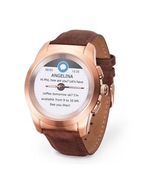 Picture of MYKRONOZ ZETIME PREMIUM LINE POLISHED BRUSHED PINK/GOLD FLAT LEATHER Smartwatch