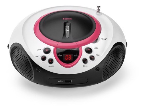 Picture of Lenco SCD-38 USB Pink - Portable FM Radio CD and USB player - Pink