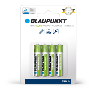 Picture of Blaupunkt HR03 AAA RTU 900  mAh Clamshell Precharged 4 pack