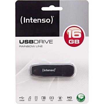 Εικόνα της Intenso USB Drive 2.0 RAINBOW LINE 16GB Μαύρο