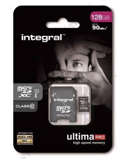 Picture of INTEGRAL ULTIMAPRO MICROSDHC/XC 90MB CLASS 10 UHS-I U1 - 128GB (with Adapter to SD Card) Κάρτα μνήμης