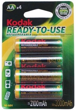 Picture of Kodak AA 2100mAh Rechargeable Batteries 4 Pack KAAHRP